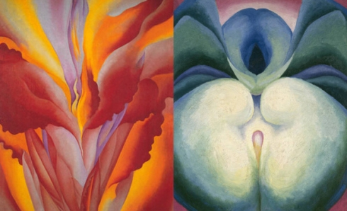 O'Keeffe paints flowers.
