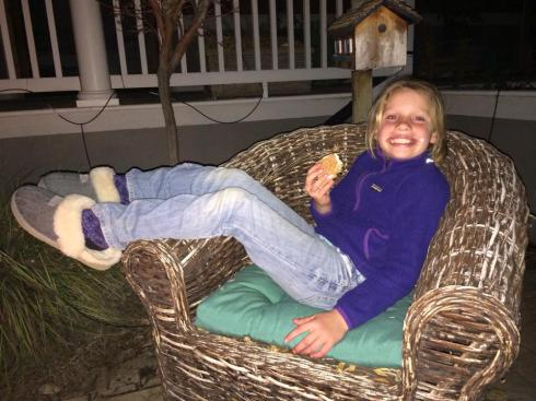 S'mores around the fire-pit and staying up late. Reward for being so brave.